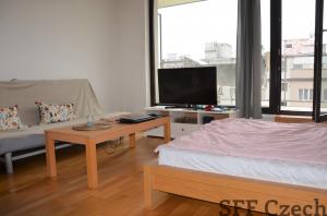 Furnished studio flat with balcony to rent Rezidence Korunní, Prague Vinohrady